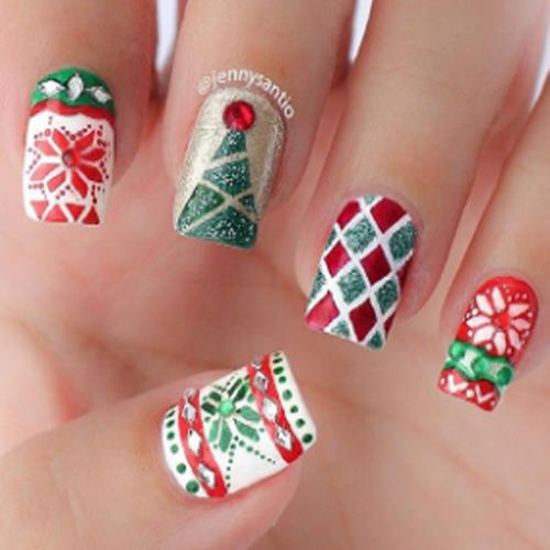 christmas design nails