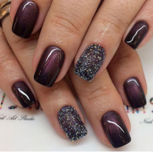 dark purple based nail colour