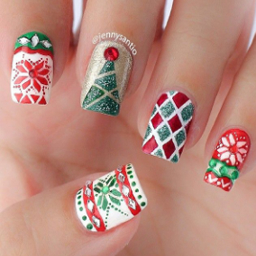 christmas design nails