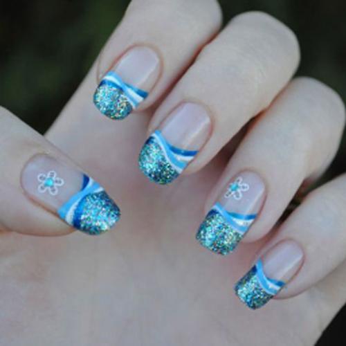 iridescent glitter nail design