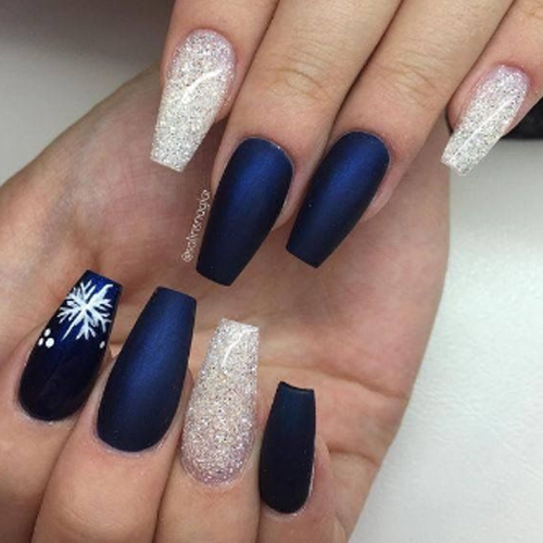 mix dark blue glittery white